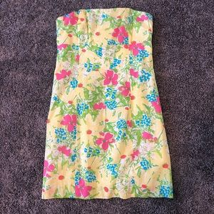 Lilly Pulitzer Yellow Flower Strapless Dress